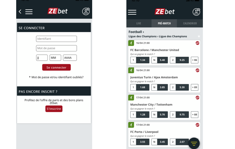 Application Zebet