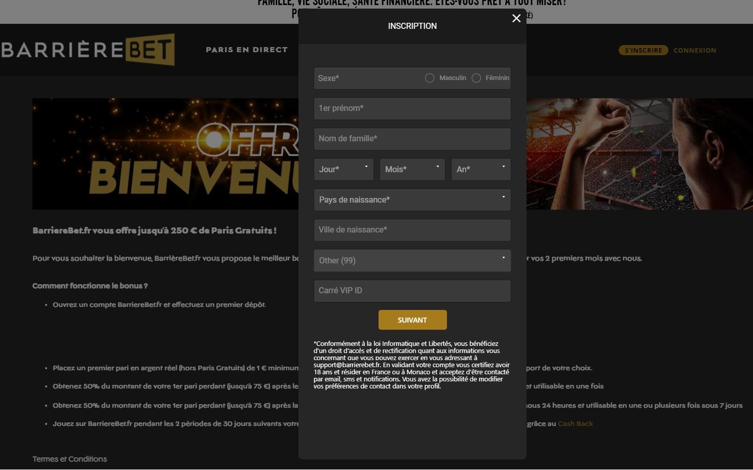 Code promo BarriereBet - Wincomparator
