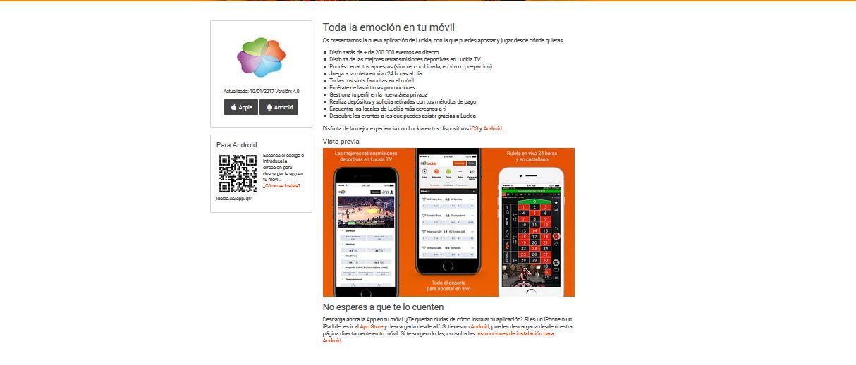 aplicación móvil luckia