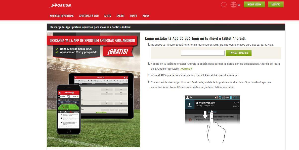 Aplicación Android de Sportium