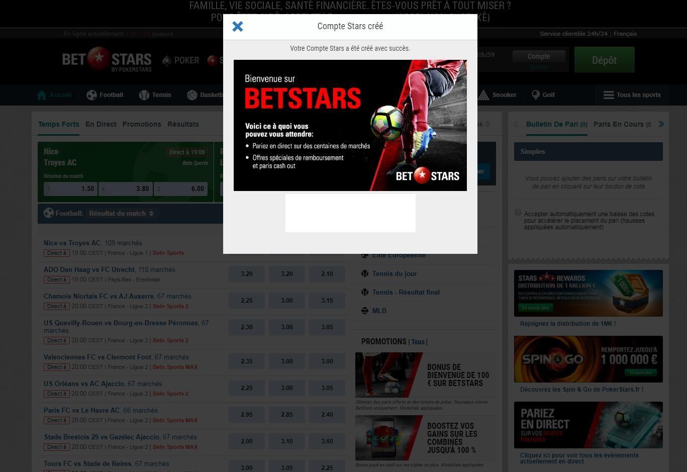 Ouverture de compte Betstars - Bookmaker