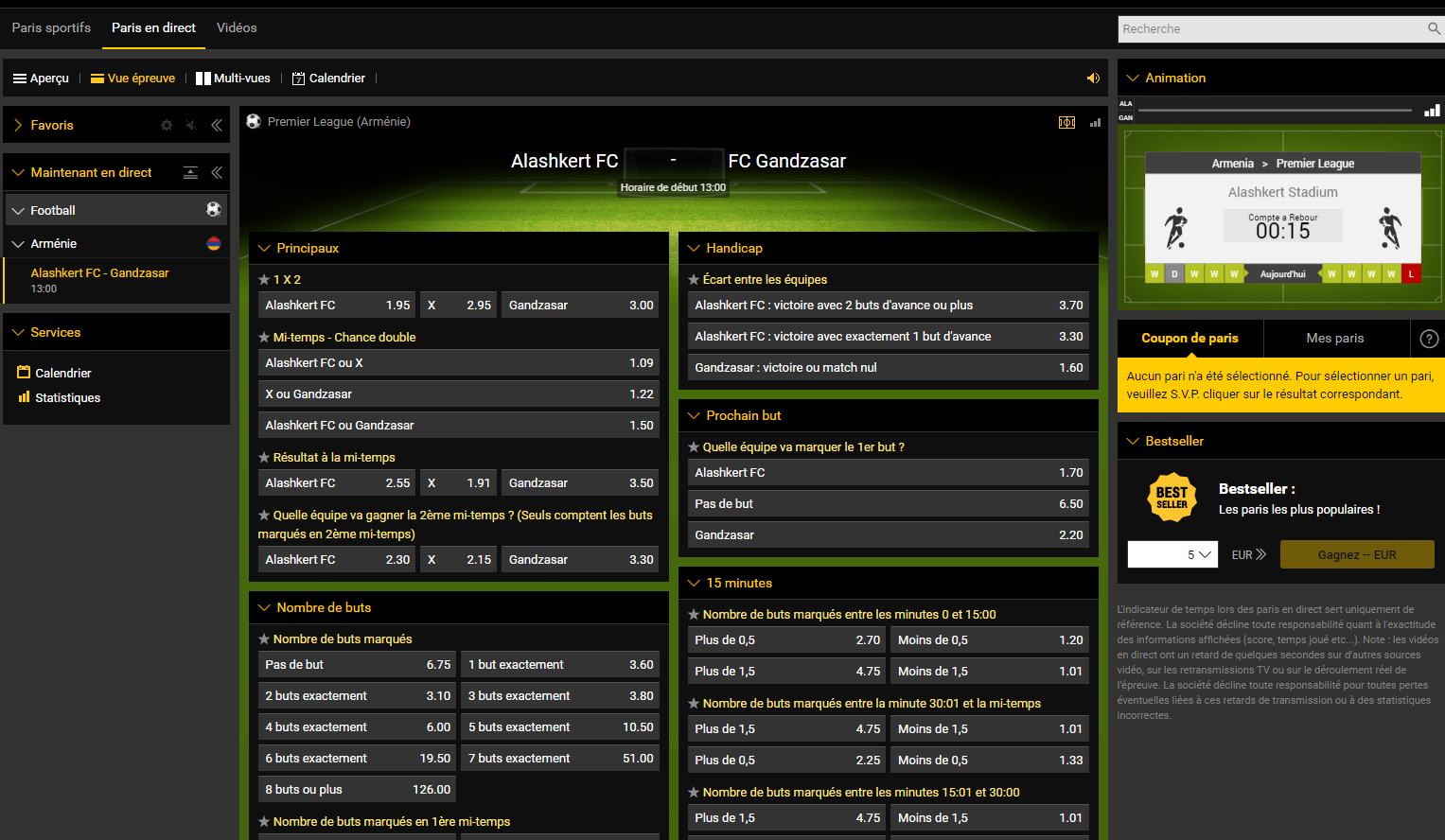 Parier en Direct - Bwin