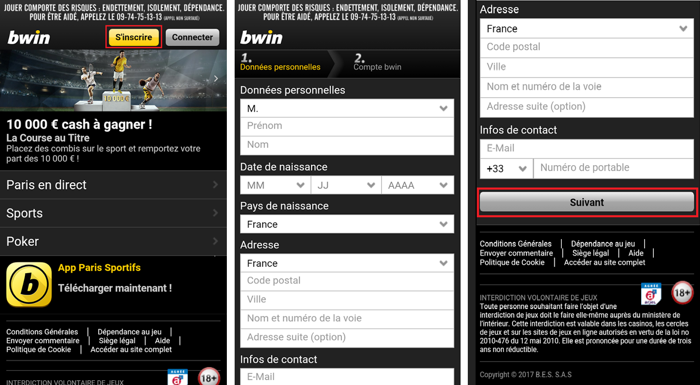 Inscription Bwin - Mobile