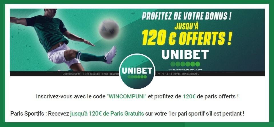 Code Bonus Unibet 120€