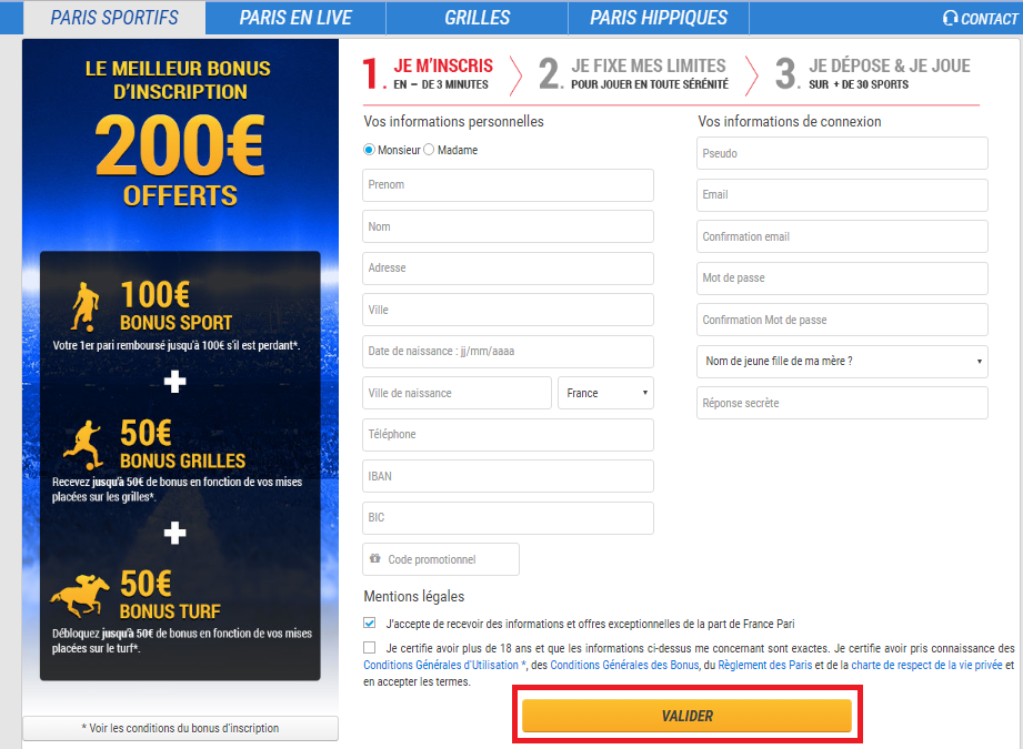 Inscription France-Pari Bookmaker