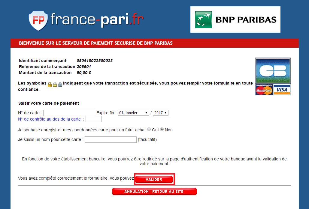 Transférer argent France-Pari - Bookmaker