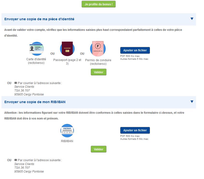 Envoyer documents - Parions Sport en Ligne - FDJ
