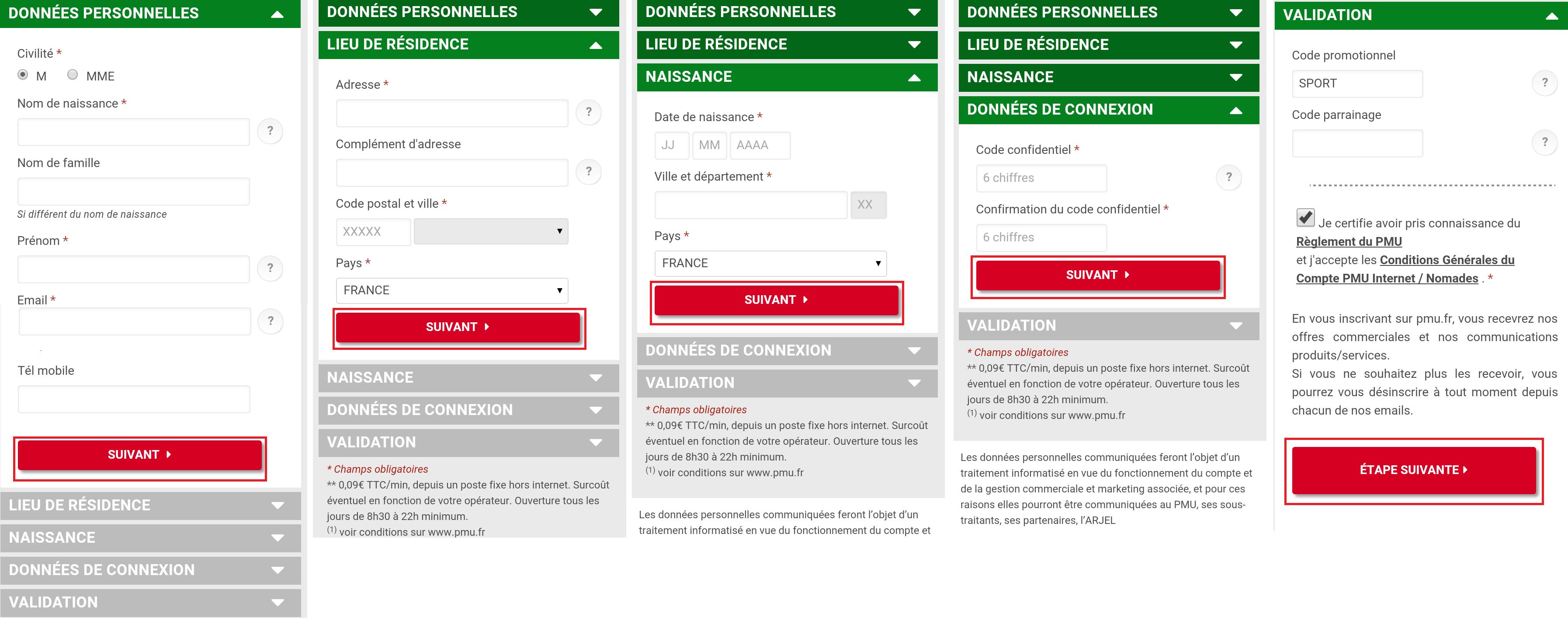 Formulaire Inscription PMU Sport