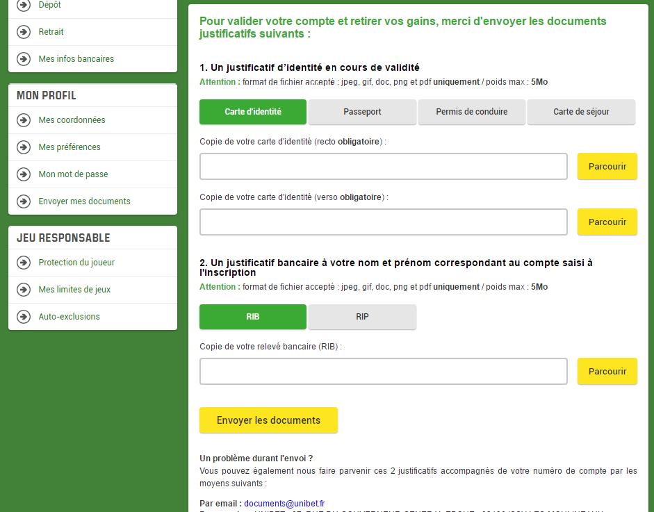 Justifier identité Unibet Paris Sportifs