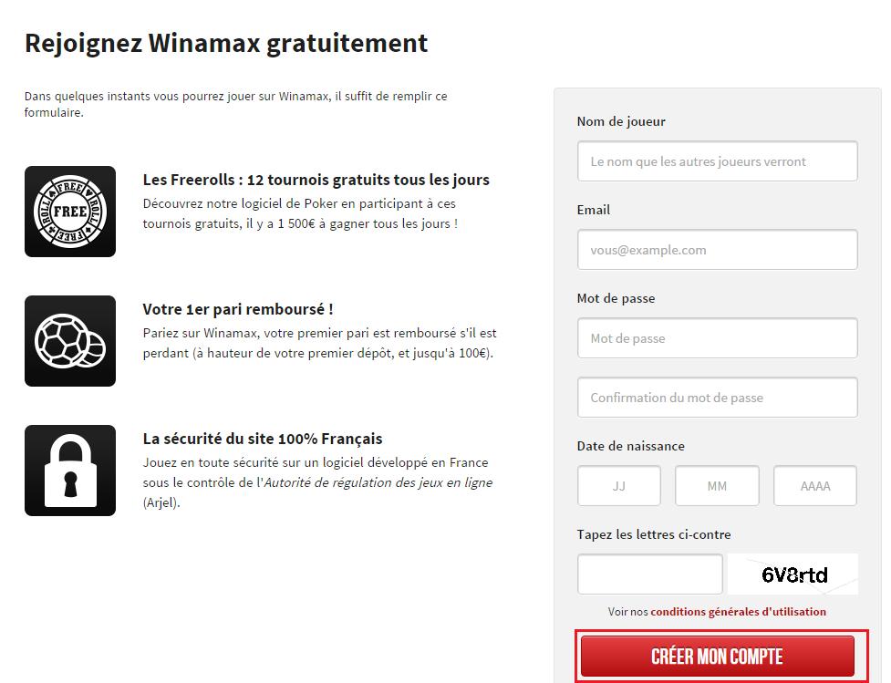 Formulaire Winamax