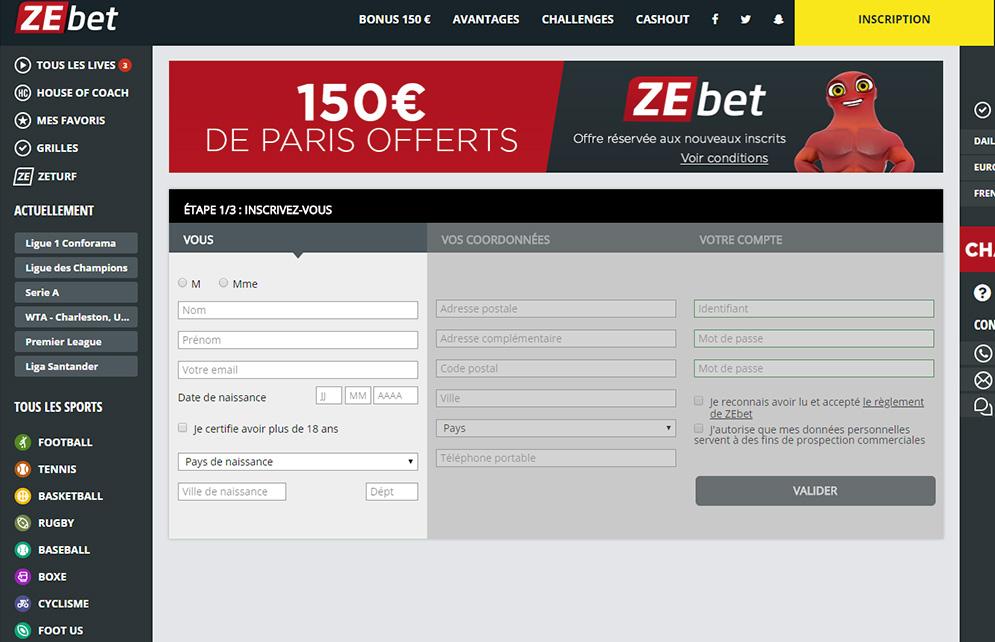 Formulaire Inscription Zebet Sport
